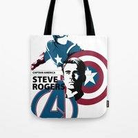 steve mcqueen Tote Bags featuring Steve by Mad42Sam