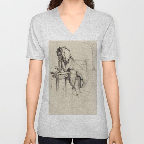 'The Unwinding' Charcoal Drawing Nude woman drinking Wine by jackiegomezartist