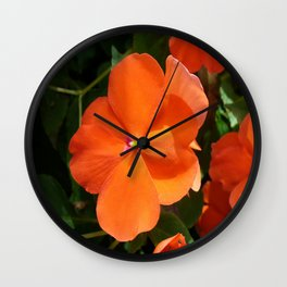 Vivid Orange Vermillion Impatiens Flower Wall Clock