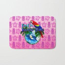 Pink Tiki Island Time Surfing Bath Mat