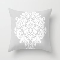 damask Throw Pillows featuring Damask by My Studio