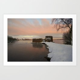 Snowy Sunrise At The Chasewater Country Park Art Print