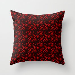 Geometric iridescent design with circles and red rectangles from stripes. Throw Pillow