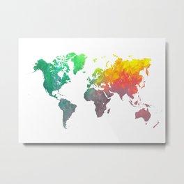 world map colors #map #worldmap #colors Metal Print
