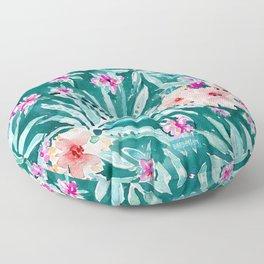 FRONDS ON FLEEK Tropical Palm Floral Floor Pillow