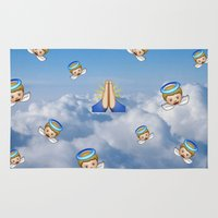 emoji Area & Throw Rugs featuring Heavenly Emoji by jajoão