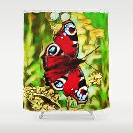 Peacock Butterfly Dream | Aglais io - Oil Painting Shower Curtain