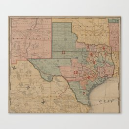 Houston Post map of the great Southwest (1880) Canvas Print