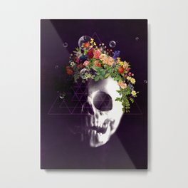 Skull with flowers no1 Metal Print