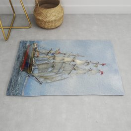 Clipper Ship Three Masted Sails Rug