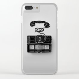 Antique Phone (Black and White) Clear iPhone Case