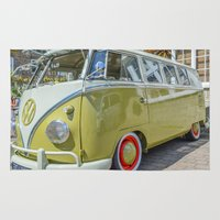 lime green Area & Throw Rugs featuring Lime Green Camper Van by Cornish Creations