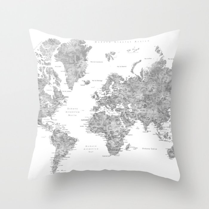 World map with labels in spanish, gray watercolor Throw Pillow by ...
