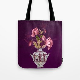 Grecian Marble Hydria with Antique Pink Flora on Celestial Plum Tote Bag