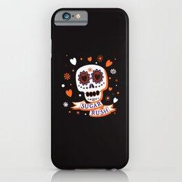 Sugar Rush Halloween Skull - Black Orange White Brown iPhone Case