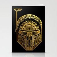 gold foil Stationery Cards featuring Mandala BobaFett - Gold Foil by Spectronium - Art by Pat McWain
