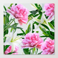 Pink Peonies & White Lilies Canvas Print