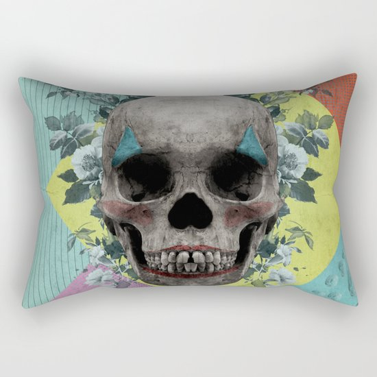skull getting' ready for halloween but didn't quite succeed Rectangular Pillow