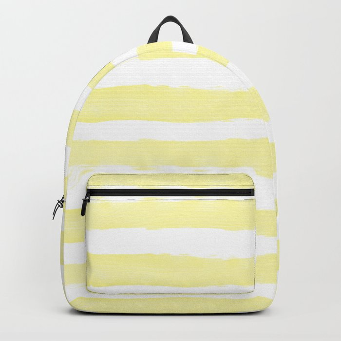 Sunny Yellow Handdrawn horizontal Beach Stripes - Mix and Match with Simplicity of Life Backpack
