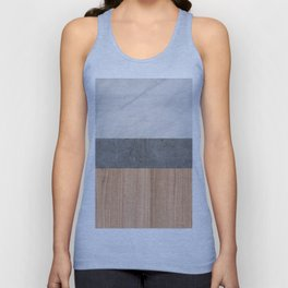 Carrara Marble, Concrete, and Teak Wood Abstract Unisex Tank Top