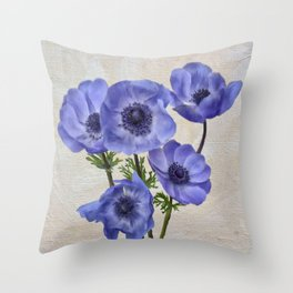 Pretty Periwinkle Poppies Throw Pillow
