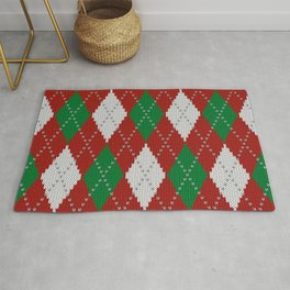 Knitted argyle Christmas sweater pattern on red Rug