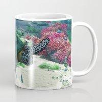 sea turtle Mugs featuring Sea Turtle by Simone Gatterwe