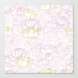 Peonies with a touch of gold Canvas Print