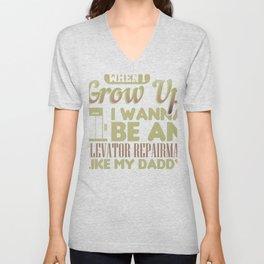 Father Elevator Repairman Wanna Be Elevator Repairman Like My Dad Unisex V-Neck