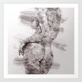 Nude woman pencil drawing Art Print