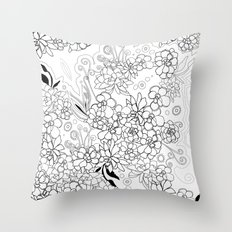 Succulents, black and white Throw Pillow