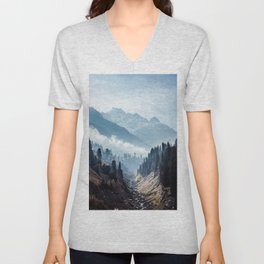 VALLEY - MOUNTAINS - TREES - RIVER - PHOTOGRAPHY - LANDSCAPE Unisex V-Neck
