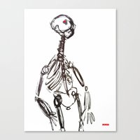 skeleton Canvas Prints featuring Skeleton by Myles Hunt