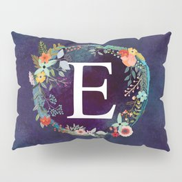Personalized Monogram Initial Letter E Floral Wreath Artwork Pillow Sham
