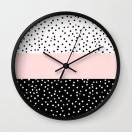 Pink white black watercolor polka dots Wall Clock