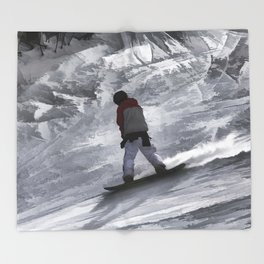 "Snowboarder ""just cruisin'"" Winter Sports Gift Throw Blanket"