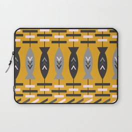 Aztec pattern with fish- ochre Laptop Sleeve