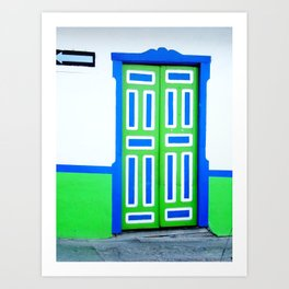 Doors - Green and Blue Art Print