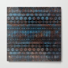Bronze and Rust Vintage  Aztec Peruvian Tribal Pattern Metal Print