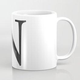 Letter N Initial Monogram Black and White Coffee Mug