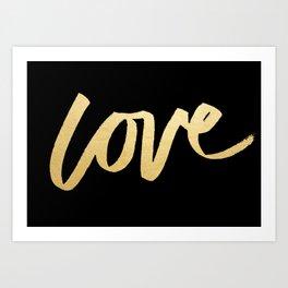 Love Gold Black Type Art Print