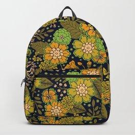 Retro 1970s Floral Pattern/Olive Green & Harvest Gold Backpack