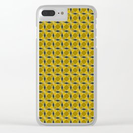 Geometric pattern with interlaced circles in gold Clear iPhone Case