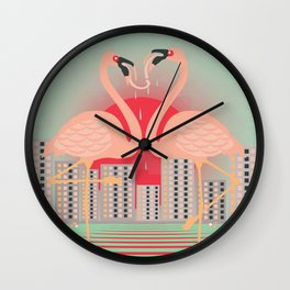 Frenching Flamingos Wall Clock