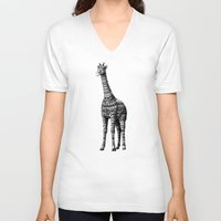ornate V-neck T-shirts featuring Ornate Giraffe by BIOWORKZ