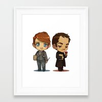 crowley Framed Art Prints featuring Naomi & Crowley by Ravenno