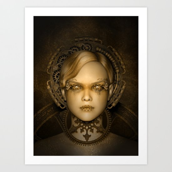 Steampunk female machine Art Print