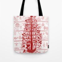 blankets Tote Bags featuring CHRISTMAS TREE red ITINERANT by Chicca Besso