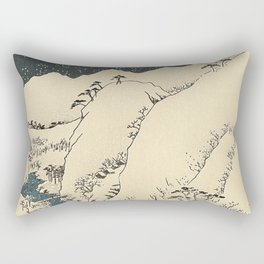 Snowy hills of Kiso in the style of Horoshige Rectangular Pillow