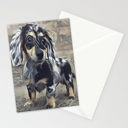 Long Haired Dachshund Stationery Cards